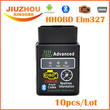 10pcs 2017 New Version 2.1 ELM327 HH OBD Advanced MINI ELM 327 V2.1 Black Bluetooth OBD2 Car CAN Wireless Adapter Scanner Tool
