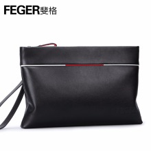 FEGER top grain buffalo leather black clutch wallet urban man clutch bag fetal calves grain(China)