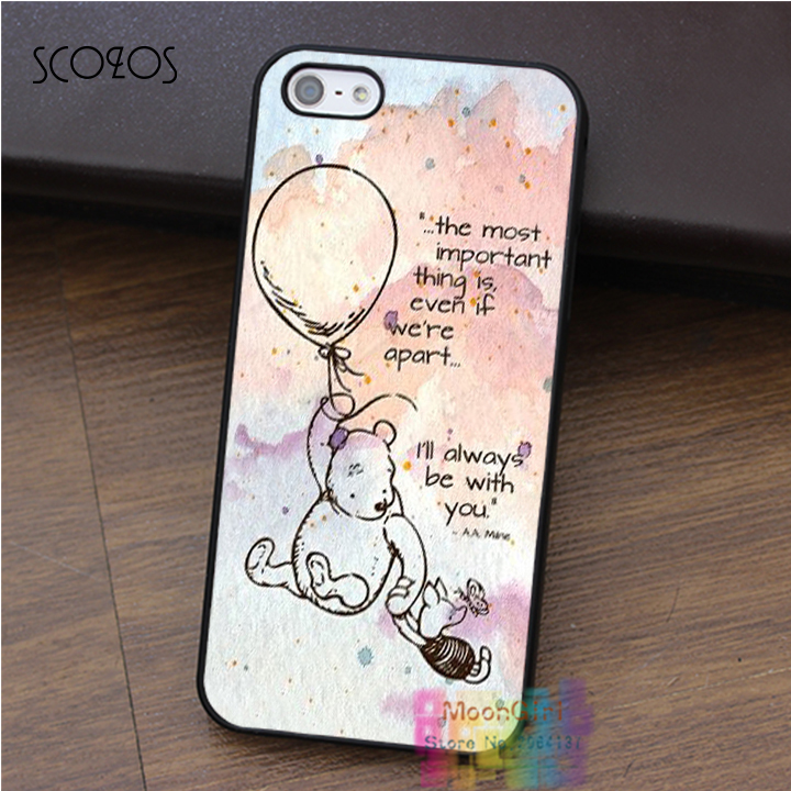 Winnie The Pooh Quote Piglet cell phone case for iphone X 4 4s 5 5s 5c SE 6 6s 6 plus 6s plus 7 7 plus 8 8 plus #ey686(China)