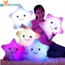 Promotion 35cm*38cm Star Led Light Pillow Cute Star Luminous Pillow with Colorful Light Christmas Birthday/Valentine's Day Gift(China)