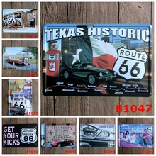 TEXAS HISTORIC ROUTE 66   Metal Painting Home Living Room Art Unique Gift Decoration Wholesale Mix Order 20X30CM  W-41