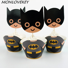 12set Big Batman Paper Cupcake Wrappers Toppers For Kids Party Birthday Decoration Cake Cups Baby Shower Decoration