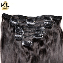 Straight Hair Clip in Human Hair Extensions Natural Color Remy Hair Clip-In Full Head 7Pcs/Set Free Shipping by KL Hair
