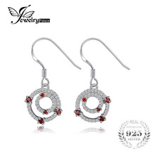 JewelryPalace Double Circle 0.6ct Red Garnet Drop Earrings 100 925 Sterling Silver Fine Jewelry Round Earrings For Women Fashion(China)