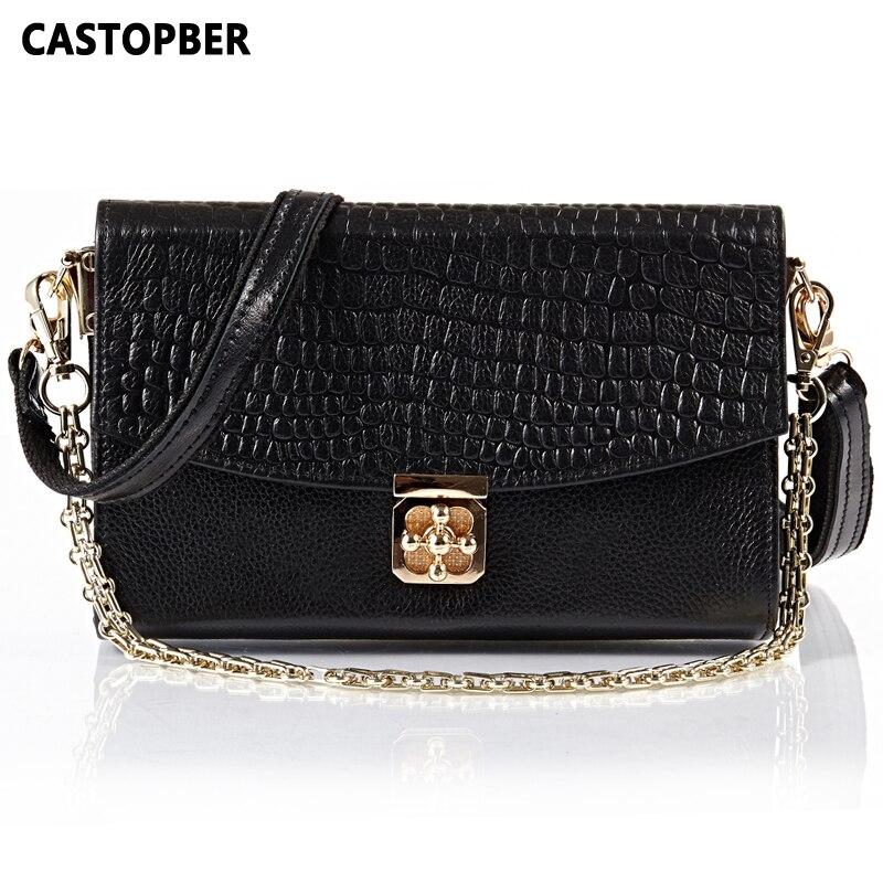 Designer Fashion Genuine Leather Cowhide Lock Women Chain Lock Bag Messenger Bags Handbags Shoulder Crossbody Women Famous Brand<br><br>Aliexpress