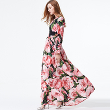 Buy XF New 2018 Spring Summer High Fashion Designer Runway Maxi Party Boho Women'S Dress Round Neck Rose Print Slim Long Dress for $62.62 in AliExpress store