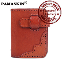 PAMASKIN Hot Sale Genuine Leather Unisex Card Holder Hot Brand Designer Credit Card Case With PVC Banks For Female Male 2017(China)