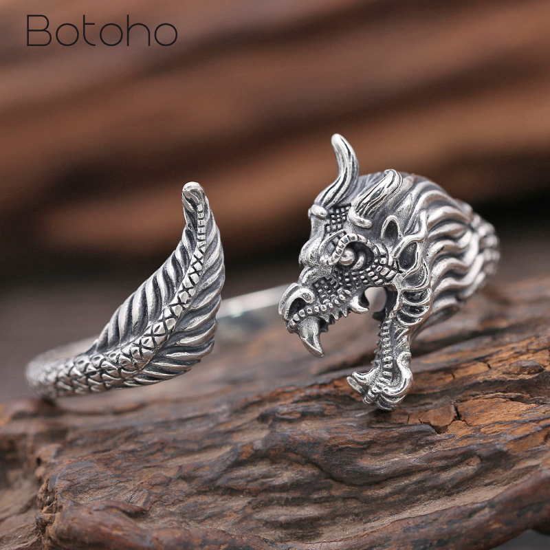 Men Bangles Real 925 Sterling Silver Domineering Dragon Men Bracelet Opening Punk Vintage Thai Silver Bangle Fine Jewelry Gifts