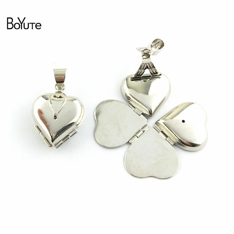 BoYuTe One Piece 222112MM Raw Brass Memory Locket Heart Photo Locket Clover Locket Vintage Jewelry Pendant (2)