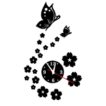 Butterfly Wall Clock acrylic mirror diy clocks home decor living room wall stickers modern watch quartz hot sale
