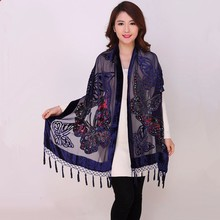 Chinese Women Velvet Silk Beaded Shawls Vintage Handmade Embroidery Scarves Scarf Long Fringe Pashmina Butterfly Cape Stole 1104