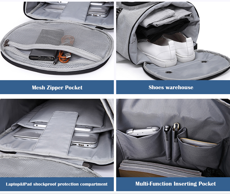 four photos showing the internal pockets on a backpack