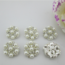(BT54 20mm)10pcs Bling Bling Clear Metal Rhinestone Buttons Crystal Silver Sewing Craft Button(China)