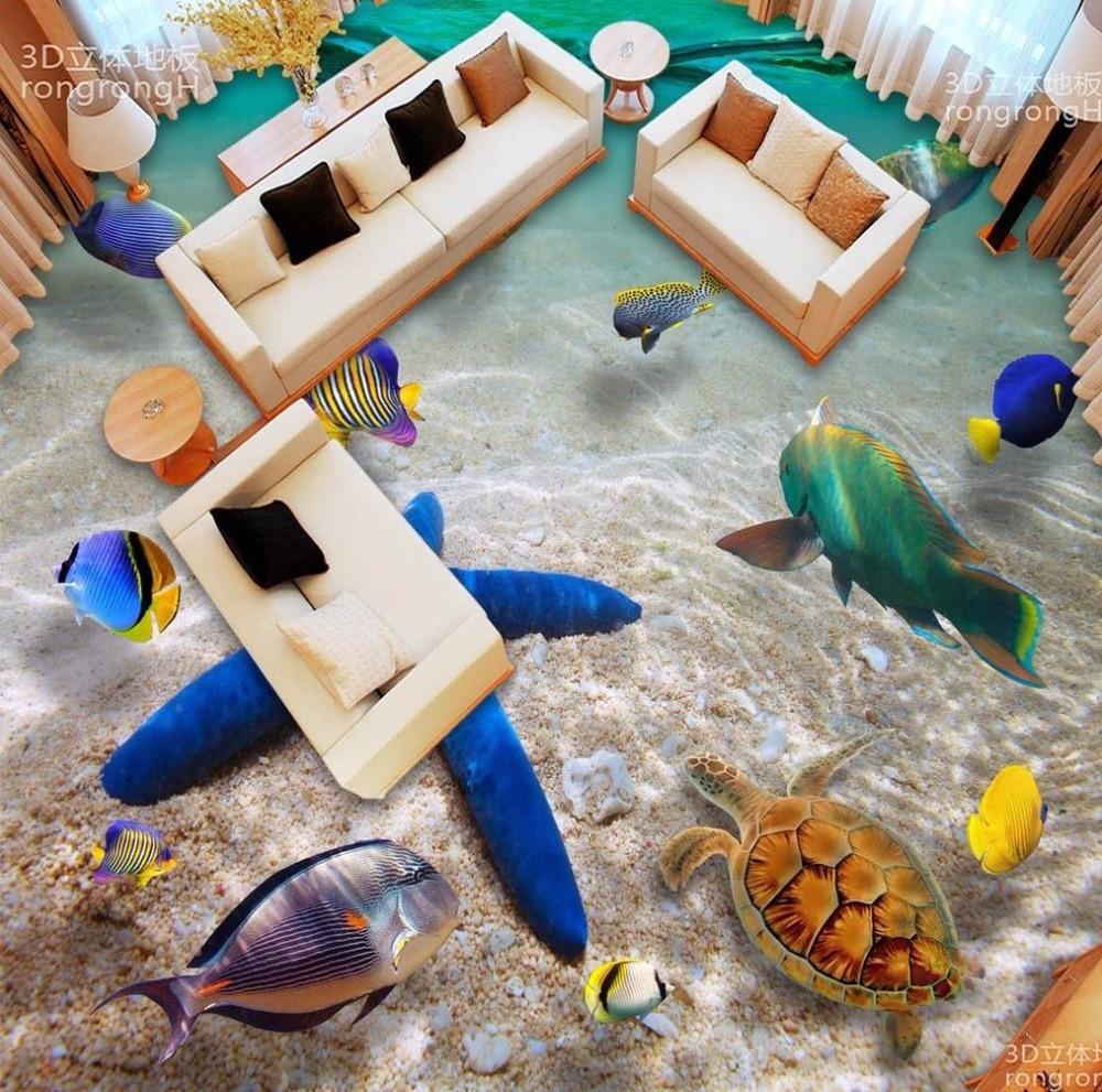 Free Shipping custom 3D Underwater world starfish sea water floor painting nursery entertainment floor wallpaper mural<br>