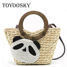 TOYOOSKY Beach bag straw basket totes bag beading panda large summer bags with colorful pom pom women natural handbag 2017 new(China)