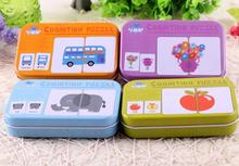 1 set Baby Kids Cognition Puzzle Toys Toddler Iron Box Cards Matching Game Cognitive Card Vehicl/Fruit/Animal/Life Set Pair Puzz