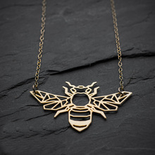 NianDi Geometric Bee Necklace Origami Gold Bee Necklace honey Bee Pendant Bug Necklace & Pendants Party Accessories YLQ0540