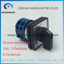 LW26 YMW26-20/2B Rotary switch 3 postion automatic reset 690V 20A 2 pole universal changeover cam main switch silver contact(China)