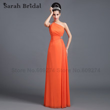 robe demoiselle d'honneur One Shoulder Long Bridesmaid Dresses Sexy Orange Lilac Champagne Maid of Honor Prom Dress Gowns SD268(China)