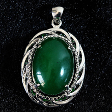 Green Malaysia jades stone chalcedony 28*40mm oval shape pendant wholesale price diy noble necklace jewelry 2/pcs B835