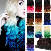 "Newest 20"" 50cm Rainbow Ombre Color Women Hairpieces Wavy Curly Synthetic Clip In Hair Extensions for Cosplay Party B50"