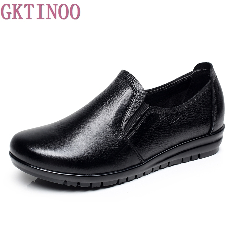 Big size 40-43 genuine leather women flats new women loafers comfortable soft bottom mother work shoes<br>