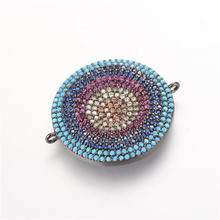 NEW luxury Micro Pave Zircon CZ steering wheel eye pendant DIY charm beads bracelets bangles jewelry connector Making(China)