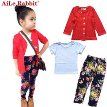 AiLe Rabbit Autumn girls fashion clothes set girl jacket + shirt + flower pants girls 3 piece clothing set kids clothes retail
