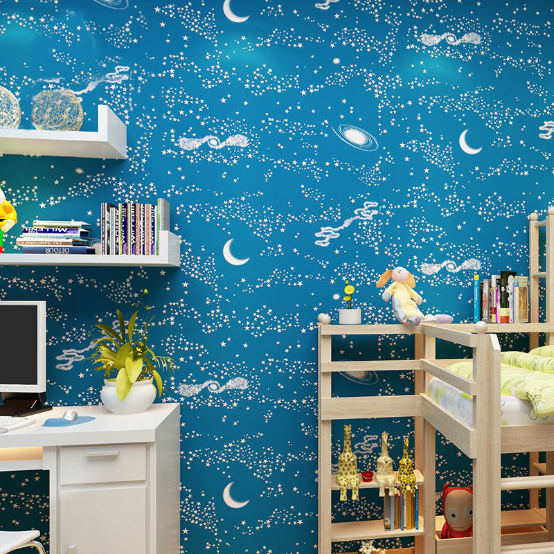 Environmental Protection Childrens Room Wallpaper Bedroom Non-woven 3D Blue Stars Moon Wallpaper Cartoon Boys Room Wall Decor<br>