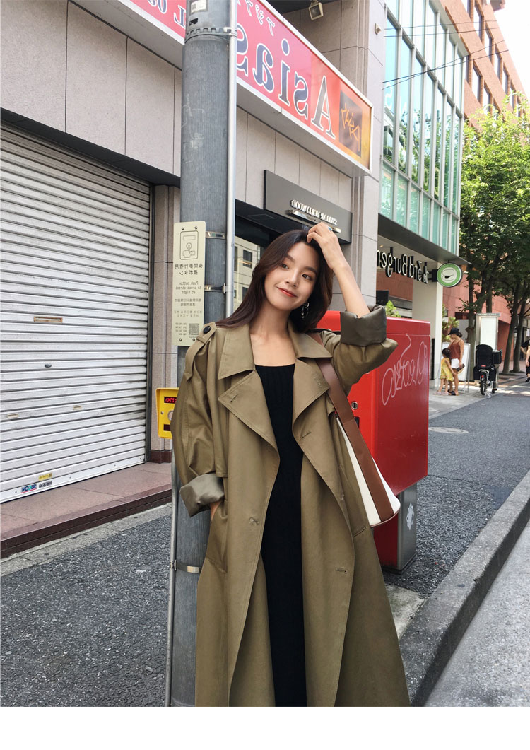 khaki Trench Coat Casual women's long Outerwear loose clothes for lady with belt spring autumn fashion high quality army green 19