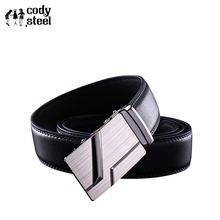 Cody Steel High Quality Business Men Belts Automatic Buckle PU Leather Man Fashion Belts Classic Popular Luxury Black Belts Male(China)