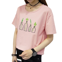 Glamcity Female Embroidery T-shirt Casual Short Sleeve Tee Summer Plant Flower T shirt Pink Black White T shirt O Neck