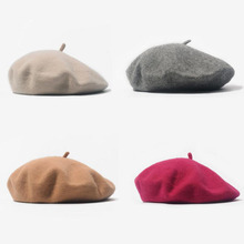Fashion Woolen Baby Girls Hats Candy Color Elastic Infant Baby Beret Hat for 1-4 Years 1 PC