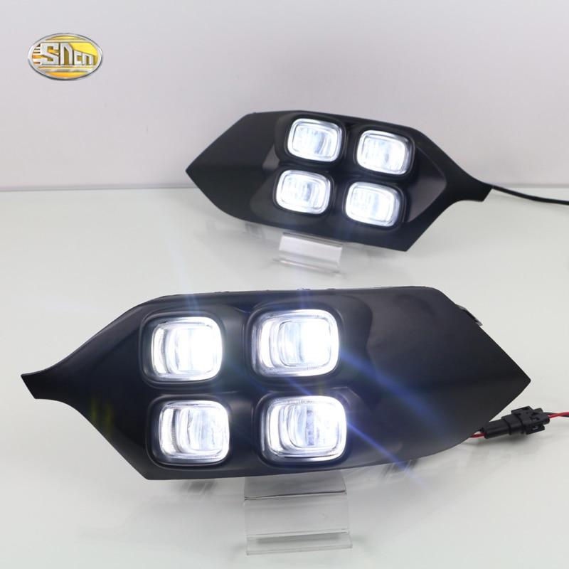 SNCN LED Daytime Running Lights for Mitsubishi Pajero Sport 2016 2017 Fog lamp cover 12V ABS DRL<br>