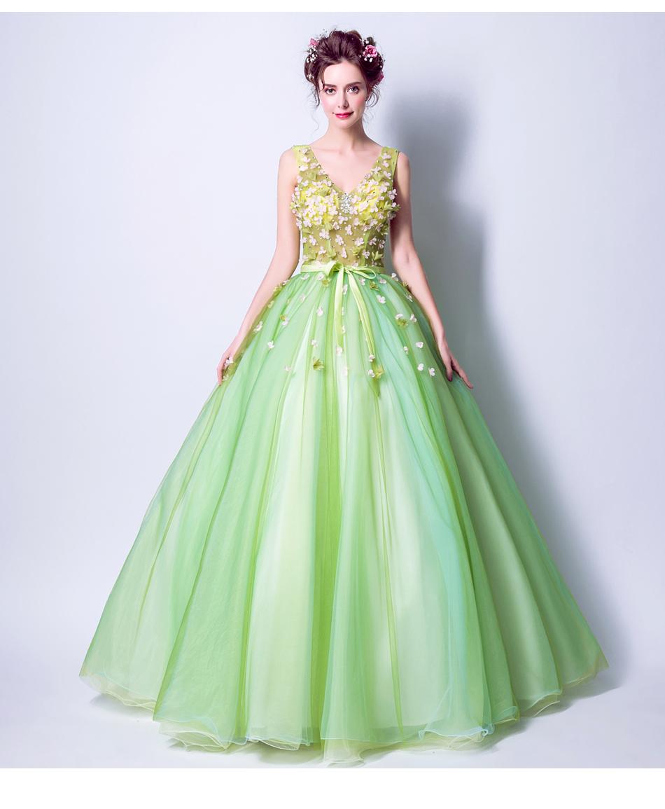 Angel Wedding Dress Marriage Bride Bridal Gown Vestido De Noiva 2017Soft powder, Qingjian Lvxian beauty, petals, green 9718 13