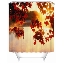 Shower Curtains Beautiful Autumn Maple Leaves Eco-Friendly Waterproof Shower Curtains Bathroom Curtain Y-143