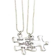 "Special Present Lettering ""Your Crazy Matches My Crazy"" Puzzle Box Pendant Necklace Best Friends Necklace Gift Jewelry  Keychain"
