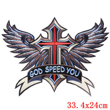 Embroidered Large size God Speed Red Cross Wing Patches Motorcycle Biker Patches motor biker motocross for vest Jackets(China)