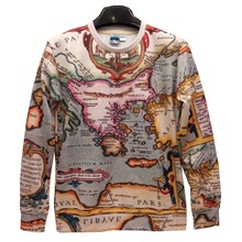 New Fashion Hip Hop casual Men/Women The world map Pullovers Funny 3d sweatshirts 3D printed Hoodies top Plus S-5XL T491