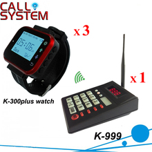 Wireless Queuing System Fast Food Restaurant Equipment 433.92MHZ Wrist Paging (1 keypad+3 watch)