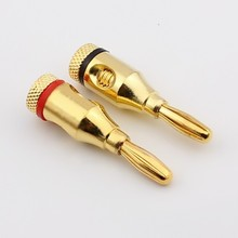 High quality large current copper Gold-plated 4mm banana plug for power amplifier audio system plug 2pcs/lot  red +black