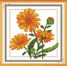 Joy sunday floral style Twelve months flower October design chart free printable cross stitch patterns kits for diy craft gifts