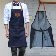 NEW Simple Antifouling kitchen apron women and men Delantal chef work pinafore denim sleeveless Avental Coffee shop aprons