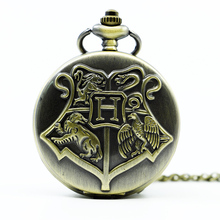 Vintage Bronze Quartz Pocket Watch Mens Analog Pendant Necklace Gift