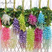 Noble artificial Vine Plants Silk Flowers Decorative Flower Wisteria Vine Rattan Home/Garden/Hotel Wedding  Decoration