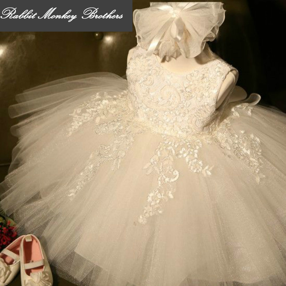 2017 summer girls dress pure white 3D lace girls wedding and Party princess dress costumes flower girl tutu dress for girls<br>