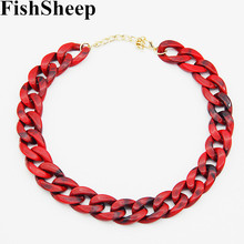 Buy FishSheep Statement Red Acrylic Chain Long Choker Necklaces Women Vintage Plastic Chain Collar Pendants & Necklaces Bijoux for $2.39 in AliExpress store