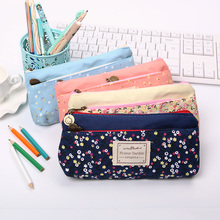 Lovely Floral Pencil Cases Large Capacity Canvas Double Zipper Pencil Bag Students Stationery Office Supplies