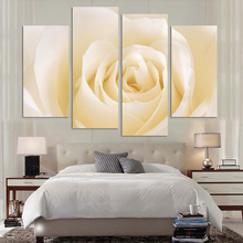 4 Pcs/Set Fashion Brand Hot Sale Canvas Picture flower Painting light yellow Roses canvas print wall modular pictures for living