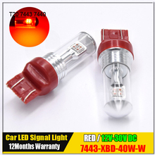2pcs Red High Power Max 40W XBD LED 7443 T20 7444NA LED Bulbs For Turn Signal Lights, Tail Lights, Brake Lights, Brilliant Red(China)